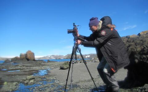 Jonne Kotta Antarktikas välitöödel.
