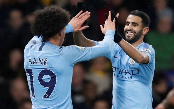 Manchester City väravad löönud Leroy Sane ja Riyad Mahrez