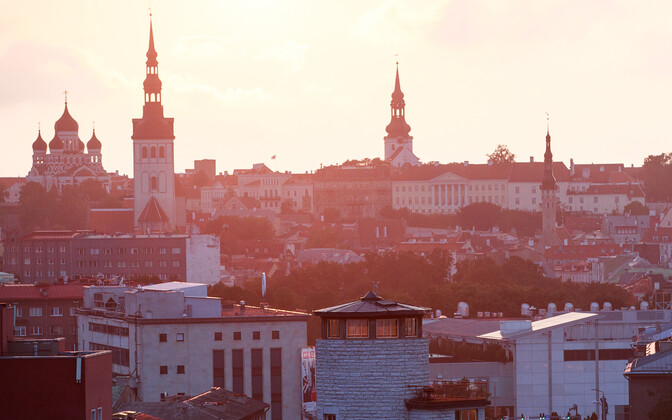 Spires of several churches visible on the Tallinn skyline.