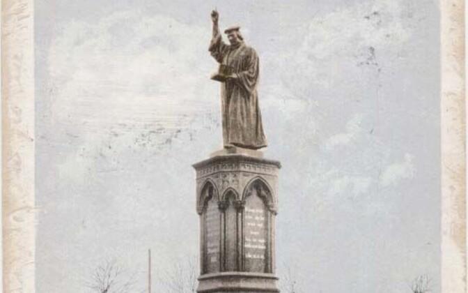 Lutheri mälestusmärk värvilisel postkaardil umbes 1900. aastast.