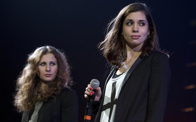 Pussy Rioti liikmed Maria Aljohhina (vasakul) ja Nadežda Tolokonnikova.