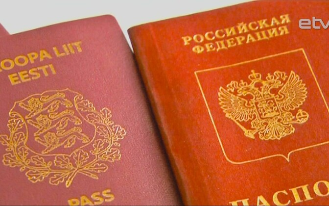 Estonian and Russian passports.