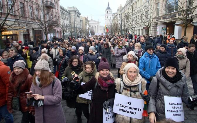 Протесты учителей в Вильнюсе.