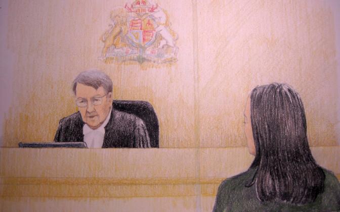 Kohtujoonistus Meng Wanzhou istungist Kanadas.