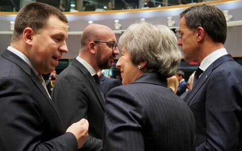 Prime Minister Jüri Ratas (Centre) at the European Council on Thursday. 13 December 2018.