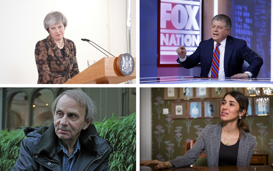 Theresa May (Zuma Press), Andrew Napolitano (AP), Michel Houellebecq (SIPA), Nadia Murad (Scanpix).