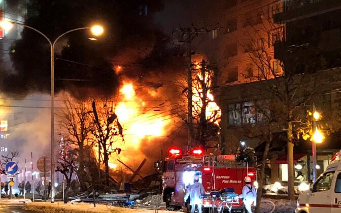 Plahvatusejärgne tulekahju Sapporo restoranis 16. detsembril.