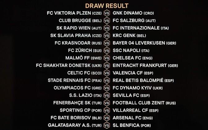 Результаты жеребьевки 1/16 финала Лиги Европы УЕФА.