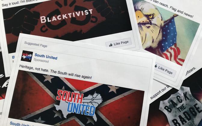 Venemaa desinformatsiooniga seotud Facebooki-reklaamid.