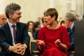 President Kersti Kaljulaid Eesti Pangas koos majandusteadlase ja Columbia ülikooli professori Jeffrey Sachsiga.