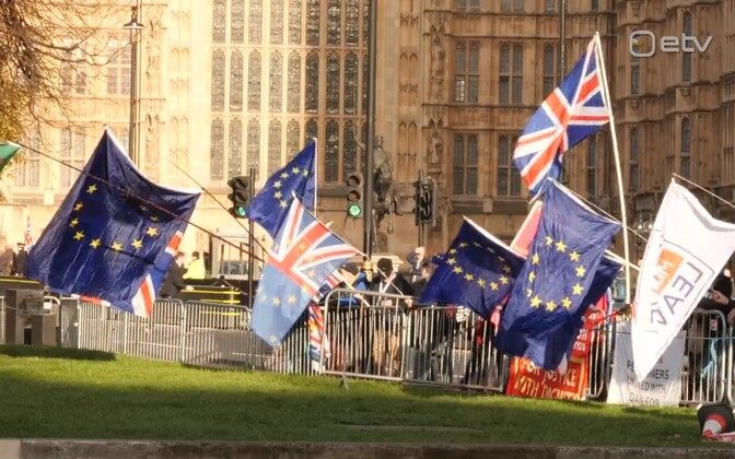 A germane photo of predominantly pro-EU protestors outside the UK House of Commons.