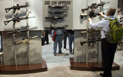 Sig Sauer automatic weaponry on display in Las Vegas, Nevada.