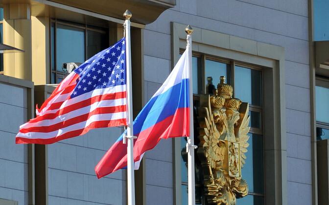USA ja Venemaa lipp Moskvas.