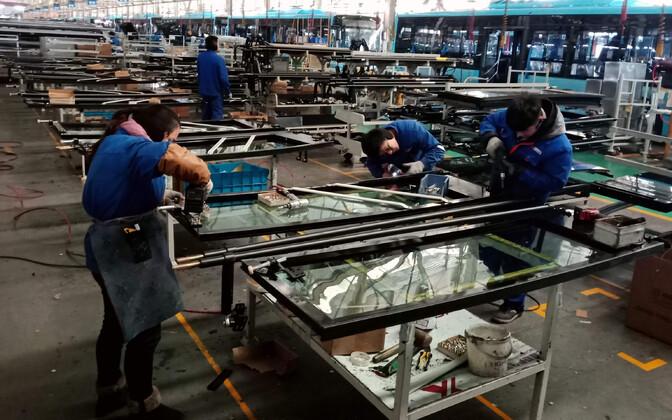 Elektribusse tootev tehas Hiinas.