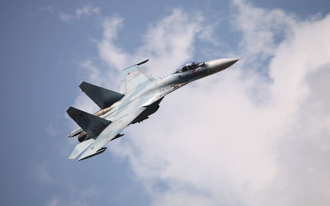 A Sukhoi Su-27SM3 of the Russian Air Force, similar to those identified and escorted by NATO jets last week.