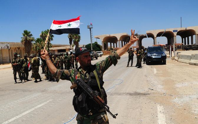 Süüria sõdurid Jordaania piiri lähistel, arhiivifoto.