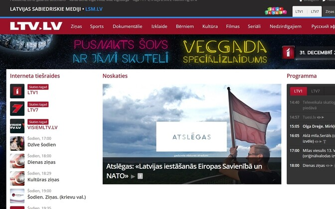 Läti ringhäälingu veebileht.
