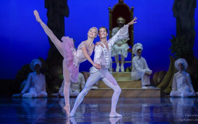 """Stseen balletist """"Pähklipureja"""". Ketlin Oja Dražeehaldjana ja Francesco Piccinin Pähklipureja-printsi osas."""
