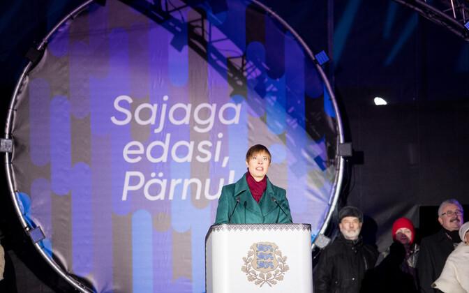 В новогоднюю ночь Керсти Кальюлайд выступила с речью в Пярну.