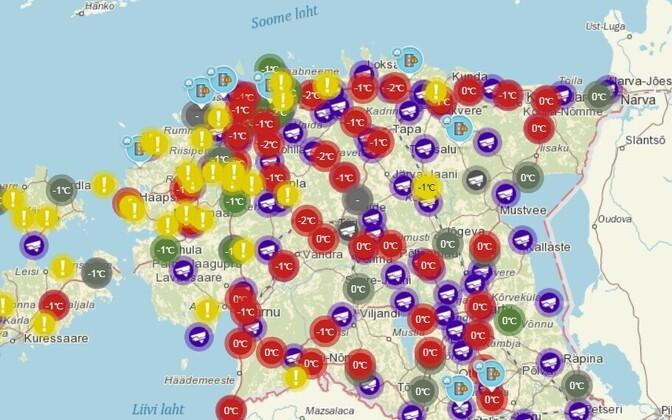На дорогах Эстонии из-за шторма условия для движения плохие.