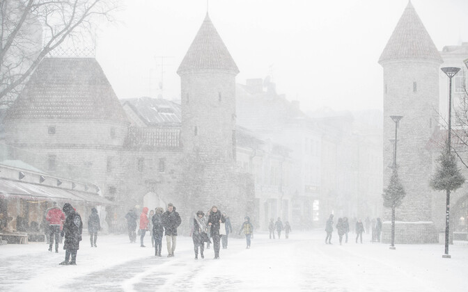People braving blustery winds and near-whiteout conditions during the 2 January winter storm.