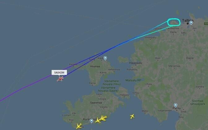 SAS-i pärastlõunane lend Kopenhaagenist Tallinna oli sunnitud tormi tõttu tagasi pöörduma.