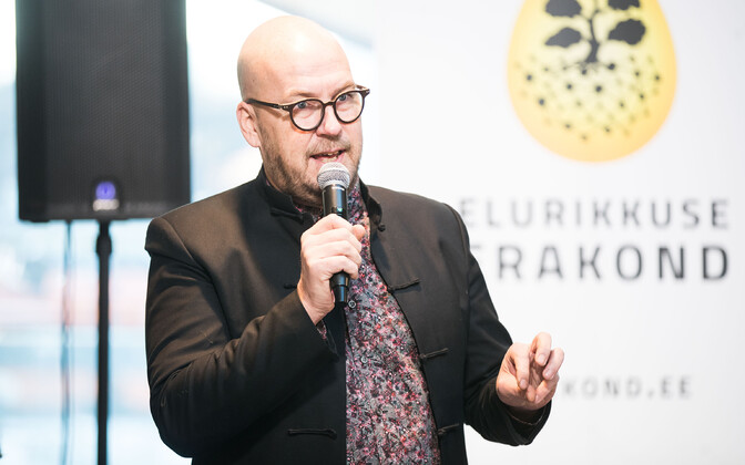 Richness of Life party founder member Artur Talvik speaking at a recent party press conference. Mr Talvik will not lead the party at the 2019 elections.
