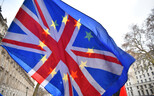 Flags of the United Kingdom and the European Union. Image is illustrative