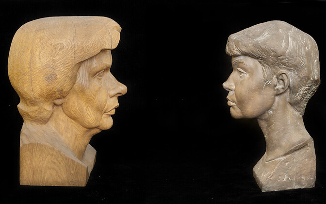 Aime Jürjo skulptuurid Mall Tombergist (vasakul) ja Viivi Luigest.