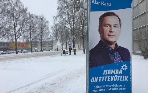An Isamaa ad for candidate Alar Karu in Viljandi.