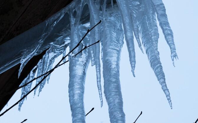 В результате таяния снега  на многих домах образовались гигантские сосульки