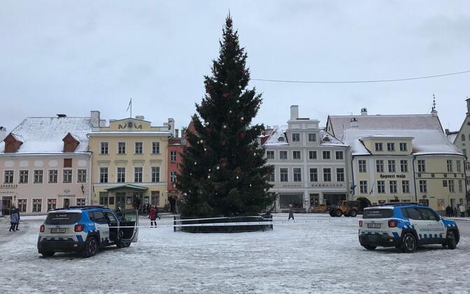 Raekoja platsi jõulupuu vajus vandaalide tõttu viltu.
