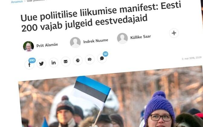 Eesti 200 manifest ilmus Postimehes 2. mail 2018.