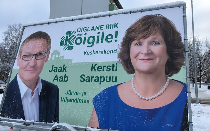 Centre Party outdoor hoarding featuring Jaak Aab, who is at the centre of the party board's  withdrawals in Viljandi County.