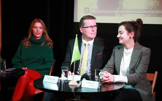 Roheliste erakonna pressikonverents: Anu Saagim, Jakko Väli ja Züleyxa Izmailova