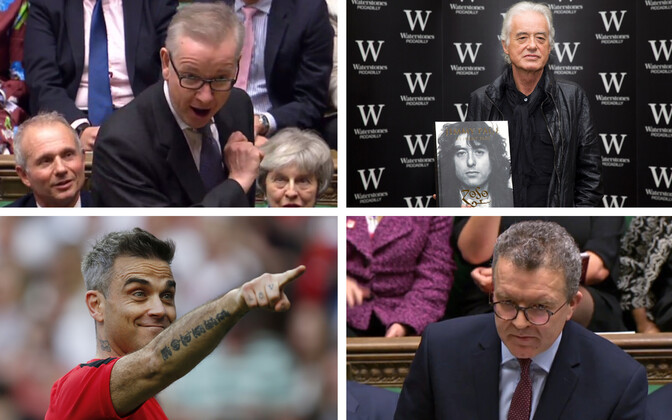 Michael Gove (AFP), Robbie Williams (Reuters), Jimmy Page (AFP), Tom Watson (AFP).