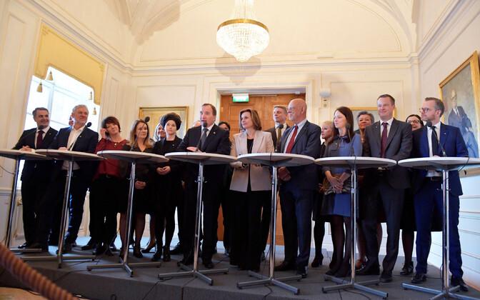 Rootsi uue valitsuse pressikonverents.
