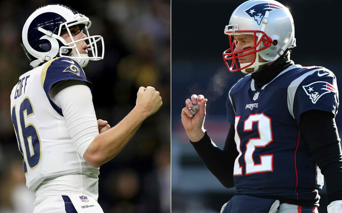 Jared Goff (Los Angeles Rams) ja Tom Brady (New England Patriots)