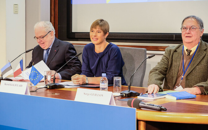 President Kersti Kaljulaid speaking at the École Nationale d'Administration conference on Wednesday.