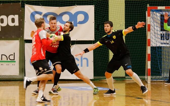 Tänase Põlva Serviti – HC Tallinn kohtumises oma meeskonna täpseimad skoorijad kõik ühel pildil – vasakult Henri Hiiend, Hendrik Varul, Uku-Tanel Laast ja Markus Viitkar.