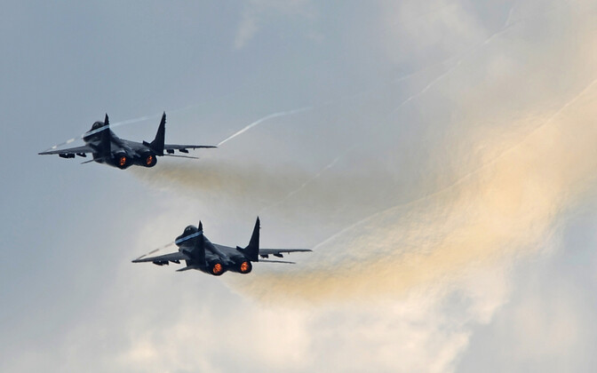 Two Russian Su-27 fighters, similar to those escorting the intercepted Tu-214 on Tuesday.