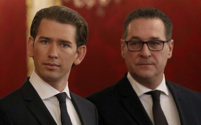 Austria liidukantsler Sebastian Kurz (ÖVP) (vasakul) ja FPÖ juht Heinz-Christian Strache.
