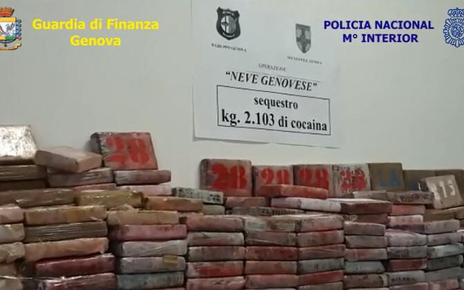 Itaalia politsei avaldatud foto konfiskeeritud kokaiinist.