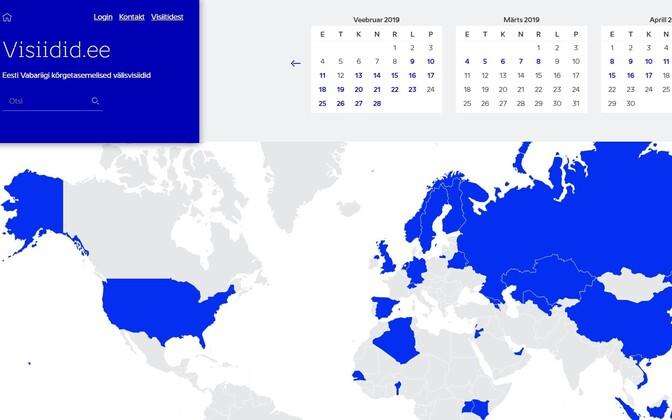 Ettevõtetele riigivisiitide kohta infot andev veebileht.