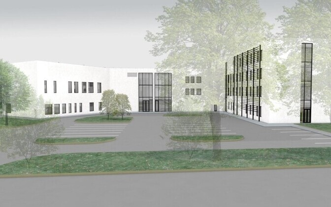 Эскиз нового здания горуправы и школы по интересам.