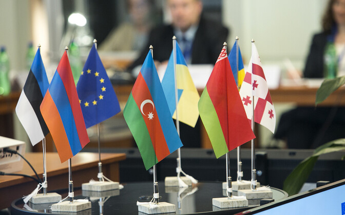 Flags of the Eastern Partnership member countries, European Union and Estonia at the Estonian Center of Eastern Partnership.