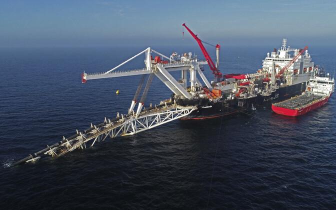 Nord Stream 2 ehitamine Läänemeres 2018. aasta sügisel.