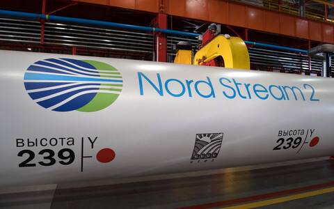 A section of pipe to be used in the construction of Nord Stream 2 in Chelyabinsk, Russia.