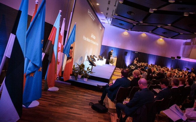 Prime Minister Jüri Ratas (Centre) addressing the Tallinn Conference on the Eastern Partnership on Friday. 8 February 2019.