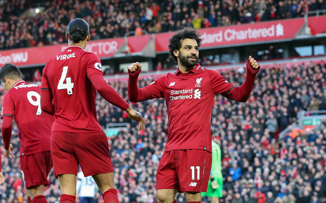 Mohamed Salah lõi laupäevases kohtumises Liverpooli eest ühe värava (paremal)